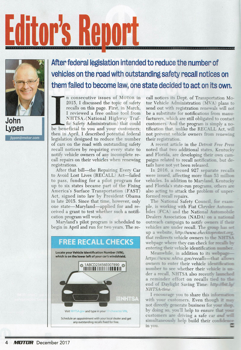 Article on vehicle safety recalls in Motor Magazine